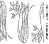 celery plant pattern. vector... | Shutterstock .eps vector #700834450
