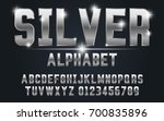 silver bold typeface set style... | Shutterstock .eps vector #700835896