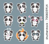 set of cute panda character... | Shutterstock .eps vector #700835914
