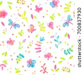 happy and bright floral... | Shutterstock . vector #700837930