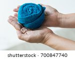 single blue towel rolled design ... | Shutterstock . vector #700847740