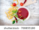 tomato soup  tomato sauce and... | Shutterstock . vector #700855180