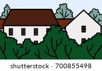 houses and trees | Shutterstock .eps vector #700855498