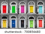 colorful collection of doors in ... | Shutterstock . vector #700856683