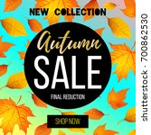 autumn sale flyer template with ... | Shutterstock .eps vector #700862530