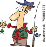 cartoon fisherman disappointed... | Shutterstock .eps vector #700885378