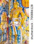 Small photo of AMBALANGODA, SRI LANKA - DECEMBER 19. 200 years old murals and sculptures inside the temple of the Buddhist monastery named Sunandarama Maha Vihara in the village Ambalangoda on December 19, 2017