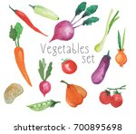 watercolor vegetables set... | Shutterstock . vector #700895698