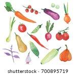 watercolor vegetables set... | Shutterstock . vector #700895719