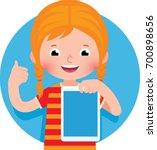 cheerful cute little girl... | Shutterstock .eps vector #700898656