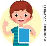 cheerful cute little boy... | Shutterstock .eps vector #700898659