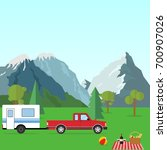 a car with a trailer in nature. ... | Shutterstock .eps vector #700907026
