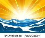 shiny sun seascape vector... | Shutterstock .eps vector #700908694