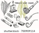 cigars  pipes  guillotines ... | Shutterstock .eps vector #700909114