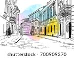 old city street in hand drawn... | Shutterstock .eps vector #700909270