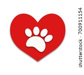 Red Heart With White Paw Print...