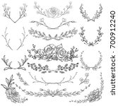 black hand drawn herbs  plants...   Shutterstock . vector #700912240