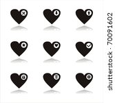 set of 9 black hearts icons   Shutterstock .eps vector #70091602