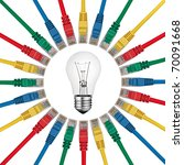 IT Solutions & Ideas - Lightbulb in the centrer of colored network cables isolated on white background - stock photo