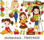 vector set with cute little... | Shutterstock .eps vector #700919620