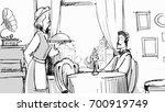 man in a restaurant receiving... | Shutterstock .eps vector #700919749