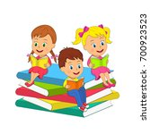 kids boy and a girls are... | Shutterstock .eps vector #700923523