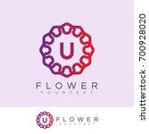flower initial letter u logo... | Shutterstock .eps vector #700928020