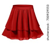 red pleated two parts skirt... | Shutterstock . vector #700929553
