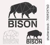 bison bull cow geometric lines... | Shutterstock . vector #700929760