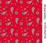 red paisley seamless pattern ... | Shutterstock .eps vector #700929958
