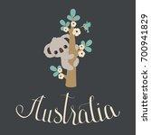 Cute Koala Climbing On A Floral ...