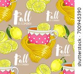 seamless pattern with cups and... | Shutterstock .eps vector #700945390