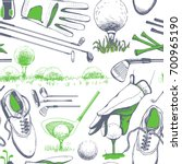 seamless golf pattern with... | Shutterstock .eps vector #700965190