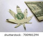 one dollar bill cut as cannabis ... | Shutterstock . vector #700981294