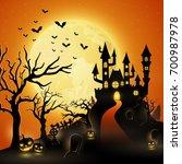 cartoon halloween background... | Shutterstock .eps vector #700987978