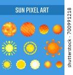 set of pixel kinds of sun on...   Shutterstock .eps vector #700991218