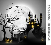 cartoon halloween background... | Shutterstock .eps vector #700994713