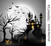 cartoon halloween background... | Shutterstock . vector #700994716