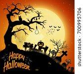 cartoon halloween background | Shutterstock . vector #700995706