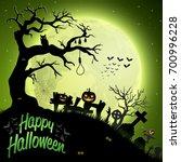 cartoon halloween background | Shutterstock .eps vector #700996228
