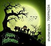 cartoon halloween background | Shutterstock . vector #700996234