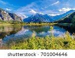 Scenic Alpine Lake Almsee Austria. Lake Alm, Salzkammergut in the Almtal Valley. Summer Scenery.  - stock photo