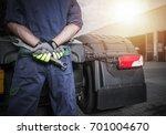 broken truck problem. semi... | Shutterstock . vector #701004670