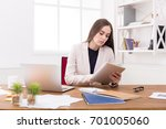 confident young business woman... | Shutterstock . vector #701005060