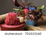 fall bouquet holiday background.... | Shutterstock . vector #701013160