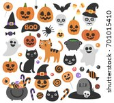cute vector set with halloween... | Shutterstock .eps vector #701015410