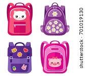 vector set of kids school bags... | Shutterstock .eps vector #701019130