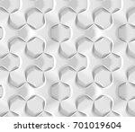 white abstract hexagonal... | Shutterstock . vector #701019604