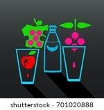 flat  design bottle and glasses ... | Shutterstock .eps vector #701020888