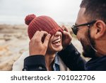 loving couple having fun... | Shutterstock . vector #701022706